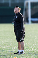 Allston, MA - Sunday, April 24, 2016: Seattle Reign FC head coach Laura Harvey. The Boston Breakers play Seattle Reign during a regular season NSWL match at Harvard University.