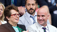 Andre Agassi, Billie Jean King..Tennis - Grand Slam - The Championships Wimbledon - AELTC - The All England Club - London - Wed July 4th 2012. .© AMN Images, 30, Cleveland Street, London, W1T 4JD.Tel - +44 20 7907 6387.mfrey@advantagemedianet.com.www.amnimages.photoshelter.com.www.advantagemedianet.com.www.tennishead.net