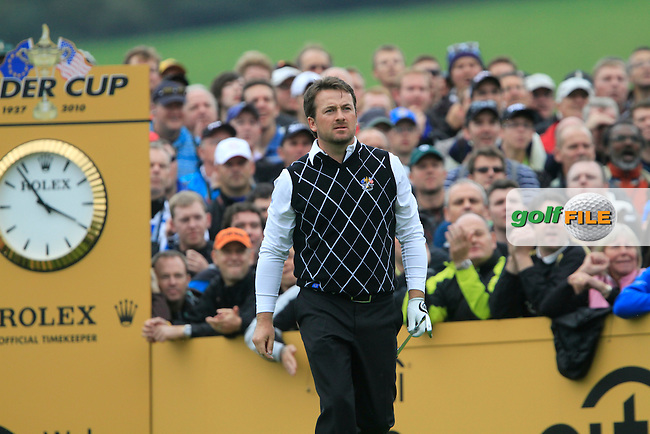 Graeme McDowell after driving off on the 17th tee in the Session 2 Foursomes Match 6 during Day 2 of the The 2010 Ryder Cup at the Celtic Manor, Newport, Wales, 2nd October 2010..(Picture Eoin Clarke/www.golffile.ie)
