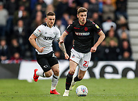 Bolton Wanderers' Joe Williams breaks away from  Derby County's Jack Marriott <br /> <br /> Photographer Andrew Kearns/CameraSport<br /> <br /> The EFL Sky Bet Championship - Derby County v Bolton Wanderers - Saturday 13th April 2019 - Pride Park - Derby<br /> <br /> World Copyright &copy; 2019 CameraSport. All rights reserved. 43 Linden Ave. Countesthorpe. Leicester. England. LE8 5PG - Tel: +44 (0) 116 277 4147 - admin@camerasport.com - www.camerasport.com