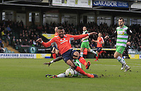 Luton Town striker Isaac Vassell wins his side a penalty during the Sky Bet League 2 match between Yeovil Town and Luton Town at Huish Park, Yeovil, England on 4 March 2017. Photo by Liam Smith / PRiME Media Images.