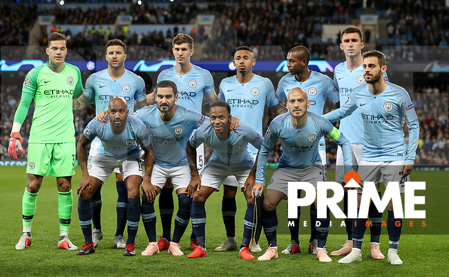 Man City pre match team photo during the UEFA Champions League match between Manchester City and Olympique Lyonnais at the Etihad Stadium, Manchester, England on 19 September 2018. Photo by David Horn / PRiME Media Images.