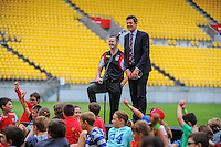 Wellington deputy mayor Justin Lester addresses the kids before the 100 balloon release at the AFL celebration of 100 day countdown until the ANZAC Centenary at Westpac Stadium, Wellington, New Zealand on Wednesday, 15 January 2015. Photo: Dave Lintott / lintottphoto.co.nz