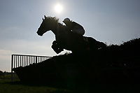 Van Doesburg ridden by Hadden Frost in jumping action in the Canterbury Horse Rescue Maiden Hurdle.