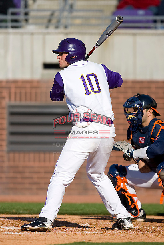 Corey Thompson #10 of the East Carolina Pirates at bat versus the Virginia Cavaliers at Clark-LeClair Stadium on February 19, 2010 in Greenville, North Carolina.   Photo by Brian Westerholt / Four Seam Images