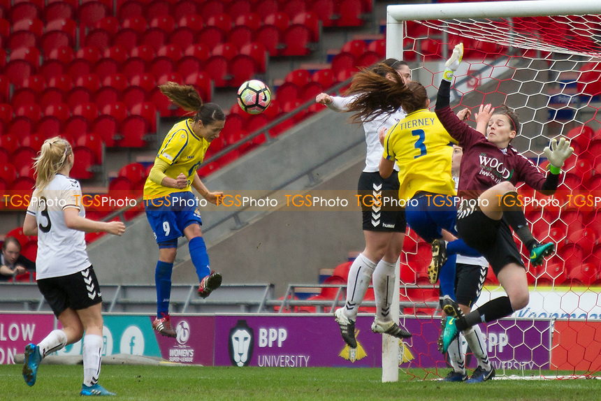 Courtney Sweetman Kirk's powerful header seals victory for the Belles during Doncaster Rovers Belles vs Durham Women, FA Women's Super League FA WSL2 Football at the Keepmoat Stadium on 16th April 2017