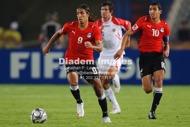 CAIRO, EGYPT:  Mohamed Talaat of Egypt (9) controls the ball during the 2009 FIFA U-20 World Cup round of 16 match against Costa Rica at Cairo International Stadium on October 6, 2009 in Cairo Egypt.    Editorial use only.  No pushing to mobile device usage.  Commercial use prohibited.  (Photograph by Jonathan Paul Larsen)