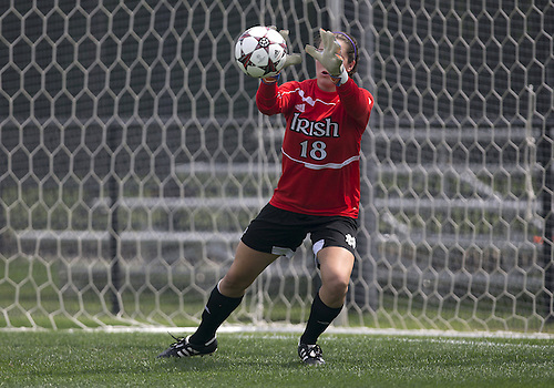 September 01, 2013:  Notre Dame goalkeeper Kaela Little (18) makes save during NCAA Soccer match between the Notre Dame Fighting Irish and the UCLA Bruins at Alumni Stadium in South Bend, Indiana.  UCLA defeated Notre Dame 1-0.