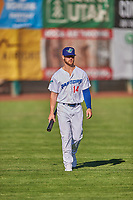 Andrew Shaps (14) of the Ogden Raptors before the game against the Grand Junction Rockies at Lindquist Field on June 15, 2019 in Ogden, Utah. The Raptors defeated the Rockies 12-11. (Stephen Smith/Four Seam Images)