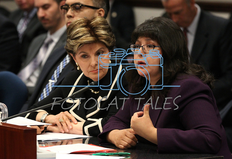 Attorney Gloria Allred, left, and Assemblywoman Irene Bustamante Adams, D-Las Vegas, right, urge lawmakers to support a bill that would remove the criminal statue of limitations for sexual assault cases in Nevada during a hearing at the Legislative Building in Carson City, Nev., on Friday, March 13, 2015. <br /> Photo by Cathleen Allison
