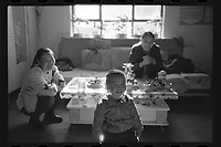 Jeminay County, Xinjiang Uygur Autonomous Region, China - A teacher (R) conducts home visit, October 2019.