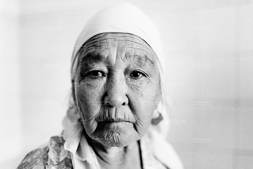 Kazakhstan. Semipalatinsk. Scientific Research Institute of Radiation, Medicine and Ecology. An old woman suffers from high blood pressure and heart disease. She has lived her entire life near the Semipalatinsk Polygon ( called today National Nuclear Center of Kazakhstan). The senior woman is a first generation victim of the 456 atomic testing - 116 atmospheric, 340 underground - from 1949 to 1989. The regions high frequency of blood pressure and heart diseases is primarily due to fallout from nearby nuclear test sites. The picture shows the human and environmental effects of nuclear radiation, contamination and pollution from atomic tests programs of the former Soviet Union. Semey is the kazak name for Semipalatinsk and is located in the Eastern Kazakhstan Province. © 2008 Didier Ruef