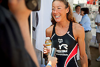 Chrissie Wellington does a TV interview at Triathlon Park two days before the Challenge Roth Ironman Triathlon, Roth, Germany, 08 July 2011
