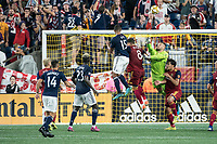 FOXBOROUGH, MA - SEPTEMBER 21: Andrew Putna #51 of Real Salt Lake punches an attempted shot on goal away during a game between Real Salt Lake and New England Revolution at Gillette Stadium on September 21, 2019 in Foxborough, Massachusetts.
