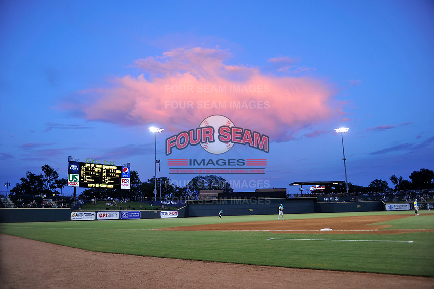 Sunset in a game between the Columbia Fireflies and Charleston RiverDogs on Friday, July 12, 2019 at Segra Park in Columbia, South Carolina. The RiverDogs won, 4-3, in 10 innings. (Tom Priddy/Four Seam Images)