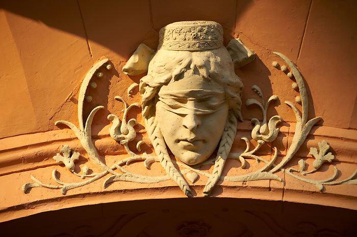 """Justice"" from the Art Nouveau (Sezession) City Hall designed by Lechner Ödön with Zolnay tiles, Hungary Kecskemét"