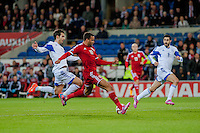 Wednesday 4th  December 2013 Pictured: Hal Robson-Kanu of Wales  scores for wales <br /> Re: UEFA European Championship Wales v Cyprus at the Cardiff City Stadium, Cardiff, Wales, UK