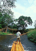 Bamboo raft and driver point of view POV, Chiang Mai, Thailand