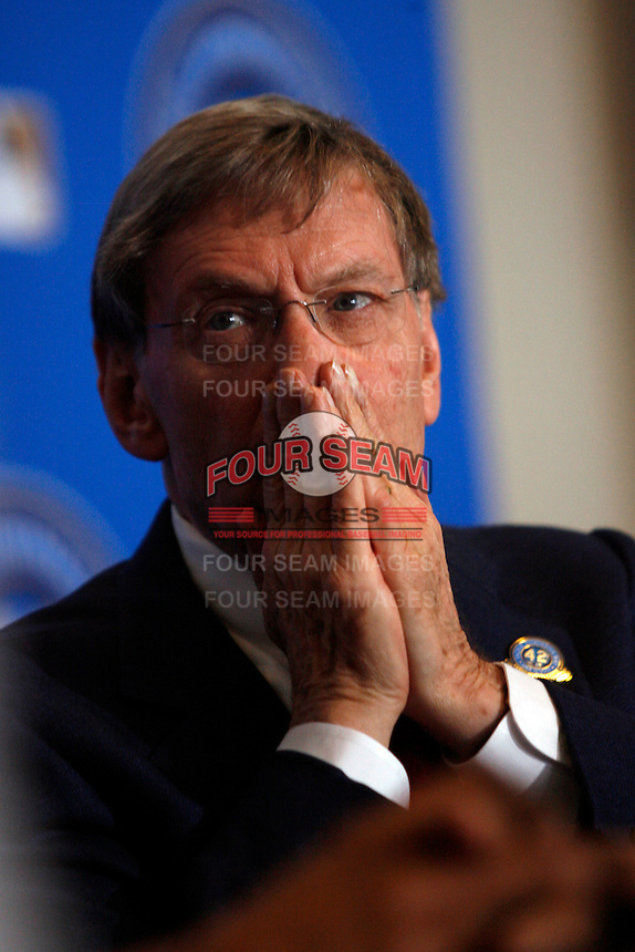 """Baseball Commissioner Bud Selig at the announcement of """"Jackie Robinson Day"""", which will be celebrated at every Major League Baseball game to be played on April 15th of every MLB season, at Dodger Stadium on April 15, 2007 in Los Angeles, California. (Larry Goren/Four Seam Images)"""