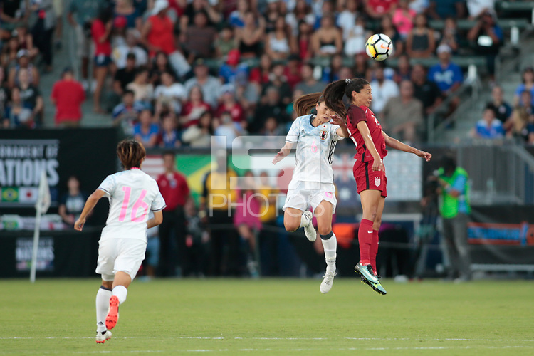 Carson, CA - Thursday August 03, 2017: Rumi Utsugi, Christen Press during a 2017 Tournament of Nations match between the women's national teams of the United States (USA) and Japan (JPN) at the StubHub Center.