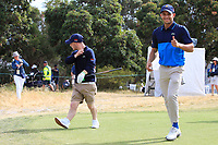 Brendan Lawlor and Adam Wahbi (International) leaving the 1st fairway during the ISPS HANDA Disabled Golf Cup at the Presidents Cup 2019, Royal Melbourne Golf Club, Melbourne, Victoria, Australia. 13/12/2019.<br /> Picture Thos Caffrey / Golffile.ie<br /> <br /> All photo usage must carry mandatory copyright credit (© Golffile   Thos Caffrey)