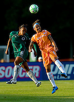 Saint Louis Athletica defender Kia McNeill (6) and Sky Blue FC forward Natasha Kai (6) during a WPS match at Anheuser Busch Soccer Park, in St. Louis, MO, July 22 2009. Athletica won the match 1-0.