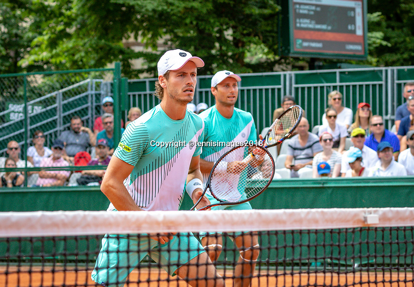 Paris, France, 31 May, 2018, Tennis, French Open, Roland Garros, Men's doubles, Wesley Koolhof (NED) (L) and Artem Sitak (NZL)<br /> Photo: Henk Koster/tennisimages.com