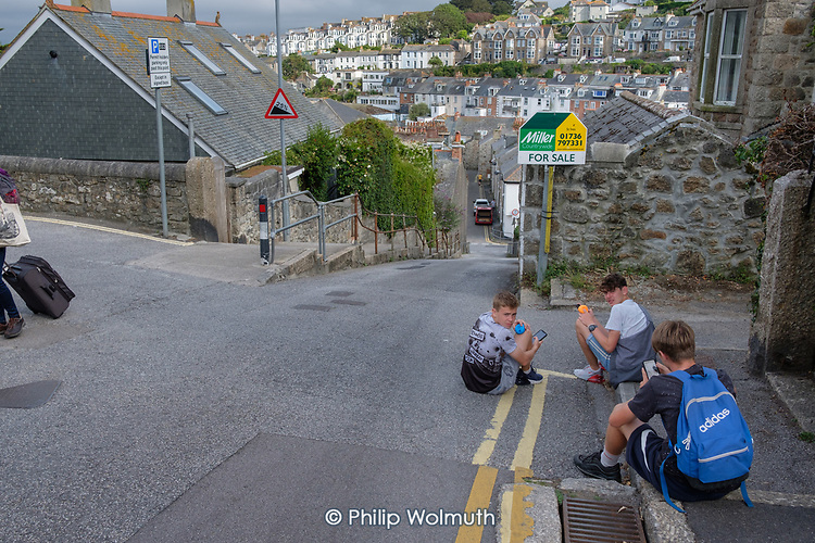 Boys playing in the street, St.Ives, Cornwall.
