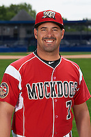 Batavia Muckdogs coach Steven Suarez (7) poses for a photo on July 8, 2015 at Dwyer Stadium in Batavia, New York.  (Mike Janes/Four Seam Images)