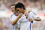 Zaragoza's Abel Aguilar (r) and Gabi Fernandez (l) during La Liga match. September 27 2009. (ALTERPHOTOS/Acero).