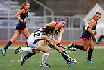 EASTON, MA - NOVEMBER 20:  Brooke Shelley (14) of Shippensburg University tries to stop Grace Ilias (12) of LIU Post during the NCAA Division II Field Hockey Championship at WB Mason Stadium on November 20, 2016 in Easton, Massachusetts.  Shippensburg University defeated LIU Post 2-1 for the national title. (Photo by Winslow Townson/NCAA Photos via Getty Images)