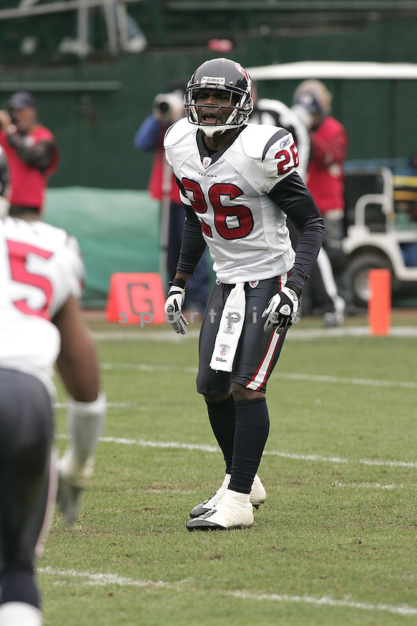 EUGENE WILSON, of the Houston Texans , in action during the Texans  game against the Oakland Raiders on December 21, 2008 in Oakland, CA...Raiders win 27-16