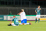 28.08.2019, Stadion Lohmühle, Luebeck, GER,  VFB Lübeck/Luebeck vs VfL Wolfsburg IIi<br /> <br /> DFB REGULATIONS PROHIBIT ANY USE OF PHOTOGRAPHS AS IMAGE SEQUENCES AND/OR QUASI-VIDEO.<br /> <br /> im Bild / picture shows<br /> Schlusspfiff, die Wolfsburger Dominik Marx udn Zakaria Hamadi VfL Wolfsburg II jubeln, die Luebecker sind enttäuscht/enttaeuscht, vorne Fabio Parduhn (VfB Luebeck)<br /> <br /> Foto © nordphoto / Tauchnitz