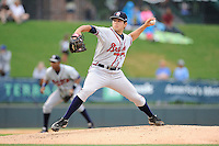 Starting pitcher Chris Diaz (37) of the Rome Braves delivers a pitch in a game against the Greenville Drive on Thursday, July 31, 2014, at Fluor Field at the West End in Greenville, South Carolina. Diaz was a fifth-round pick of the Atlanta Braves in the 2014 First-Year Player Draft out of the University of Miami. (Tom Priddy/Four Seam Images)