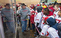 NWA Democrat-Gazette/BEN GOFF @NWABENGOFF<br /> Keith Stokes talks to a group of Burls Kids about Arkansas live mascot Tusk V Saturday, Nov. 29, 2019, before the game vs Missouri at War Memorial Stadium in Little Rock.