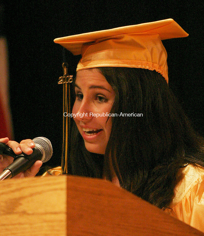 WATERBURY, CT -24 June 2005 -062405BZ11-  Valedictorian Lauren Mancuso addresses the crowd during commencement excercises at Kennedy High Friday.<br /> Jamison C. Bazinet Photo