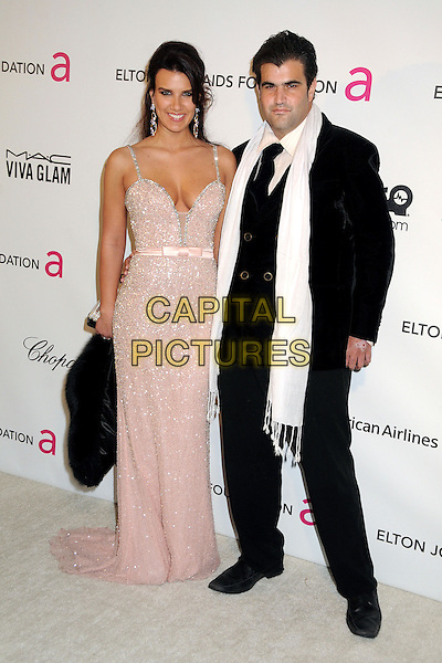 guest & Jason Davis.21st Annual Elton John Academy Awards Viewing Party held at West Hollywood Park, West Hollywood, California, USA..February 24th, 2013.oscars full length pink dress sparkly cleavage black suit white scarf.CAP/ADM/BP.©Byron Purvis/AdMedia/Capital Pictures.