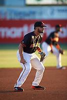San Jose Giants third baseman David Villar (28) during a California League game against the Visalia Rawhide on April 12, 2019 at San Jose Municipal Stadium in San Jose, California. Visalia defeated San Jose 6-2. (Zachary Lucy/Four Seam Images)