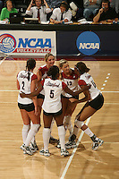 3 December 2005: Kristin Richards, Katie Goldhahn, Njideka Nnamani, and Erin Waller during Stanford's 3-1 loss to Santa Clara University at Maples Pavilion in Stanford, CA.