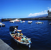 Fisherman with catch, Puerto de la Cruz, Tenerife, Canary Islands, Spain