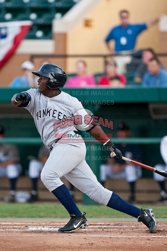 Jose Pirela (21) of the Tampa Yankees during a game vs. the Lakeland Flying Tigers May 15 2010 at Joker Marchant Stadium in Lakeland, Florida. Tampa won the game against Lakeland by the score of 2-1.  Photo By Scott Jontes/Four Seam Images