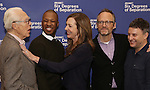 Playwright John Guare, Actors Corey Hawkins, Allison Janney, John Benjamin Hickey and Director Trip Cullman attend the 'Six Degrees Of Separation' Cast Meet & Greet at The New 42nd Street Studios on March 1, 2017 in New York City.