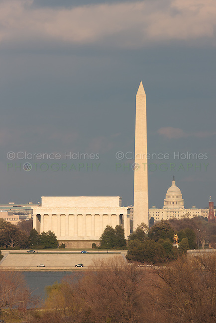 The Lincoln Memorial, Washington Monument, and US Capitol building in late afternoon light as seen from Arlington, Virginia