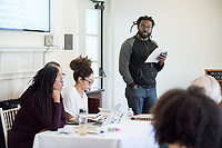 """Introduction by James Ford III, Assistant Professor, English.<br /> The 23rd Robinson Jeffers Association Annual Conference hosts a panel on """"Blackness and Nature: Artists in Conversation"""". Seated from left: Camille Dungy; Douglas Kearney; Zinzi Clemmons. February 24, 2017 in Morrison Lounge of JSC.<br /> This conversation, between author Camille Dungy and special guest poets Douglas Kearney and Zinzi Clemmons, Assistant Professor, English, treats Blackness as an entry-way to rethinking nature and its relationship to poetry.<br /> This year's Conference theme is """"Robinson Jeffers and the Modern Metropolis: Los Angeles and Beyond.""""<br /> Sponsored by the Robinson Jeffers Association, Oxy Arts, English, Writing and Rhetoric Department including Interdisciplinary Writing, and Library Special Collections & College Archives with support of the Remsen Bird Fund, The Andrew W. Mellon Foundation Arts & Urban Experience Grant.<br /> (Photo by Marc Campos, Occidental College Photographer)"""