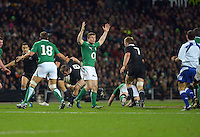 Ireland captain Brian O'Driscoll asks for help from referee Romain Poite during the Steinlager Series international rugby test match between All Blacks and Ireland at Waikato Stadium, Hamilton, New Zealand on Saturday, 23 June 2012. Photo: Dave Lintott / lintottphoto.co.nz