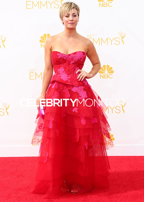 LOS ANGELES, CA, USA - AUGUST 25: Actress Kaley Cuoco arrives at the 66th Annual Primetime Emmy Awards held at Nokia Theatre L.A. Live on August 25, 2014 in Los Angeles, California, United States. (Photo by Celebrity Monitor)