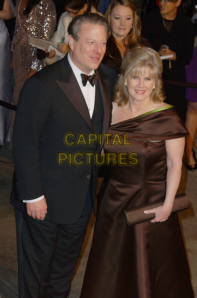 AL GORE & TIPPER GORE.The 2007 Vanity Fair Oscar Party Hosted by Graydon Carter held at Morton's, West Hollywood, California, USA, 25 February 2007..oscars half length brown dress bow tie married couple.CAP/ADM/GB.©Gary Boas/AdMedia/Capital Pictures.