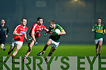 Adrian Spillane (Kerry) in action with Brian O'Driscoll and Mark Sugrue (Cork) in the Cabury Munster U21 Quarter Final 2014 at Austin Stack Park, Tralee on Wednesday night.