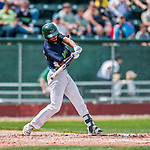 4 September 2017: Vermont Lake Monsters infielder Jesus Lage singles in the second inning during the first game of a double-header against the Tri-City ValleyCats at Centennial Field in Burlington, Vermont. The Lake Monsters split their games, falling 6-5 in the first, then winning the second 7-4, thus clinching the NY Penn League Stedler Division Championship. Mandatory Credit: Ed Wolfstein Photo *** RAW (NEF) Image File Available ***