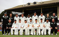 The Black Caps pose for a team photo during day four of the 3rd test between the New Zealand Black Caps and India at Allied Prime Basin Reserve, Wellington, New Zealand on Monday, 6 April 2009. Photo: Dave Lintott / lintottphoto.co.nz.